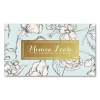Elegant Floral Mint Faux Gold Professional Double-Sided Standard Business Cards (Pack Of 100)