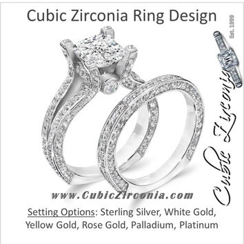 CZ Wedding Set, 3.0 Carat Princess Center and Three-Sided Bands