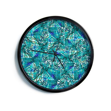 """Ebi Emporium """"New Directions, Peacock Cool"""" Teal Blue Pattern Geometric Mixed Media Painting Modern Wall Clock"""