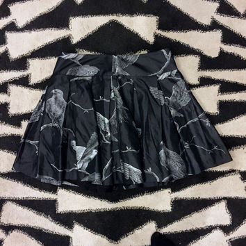 Bird Print Pleated Skirt (Adam Lippes)