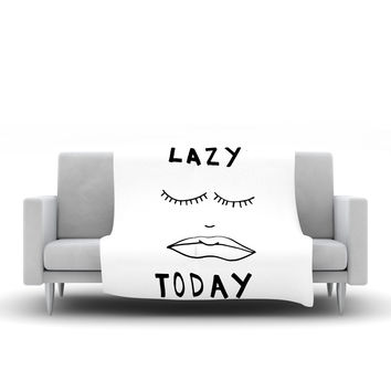 "Vasare Nar ""Lazy Today White"" Typography Fleece Throw Blanket"