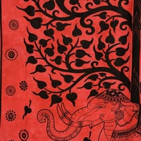 Tree Of Life Wall Tapestry, Elephant Tapestries, Red Wall Decor, Heavy Cotton Fabric, Beach Bedding, Boho Tapestries, Queen Bedspread