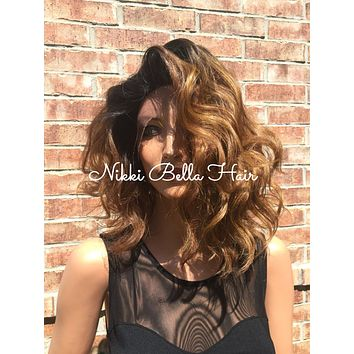 "Rooted Ombre Dark Auburn Lace front wig 12"" Long BOB Bel Air"