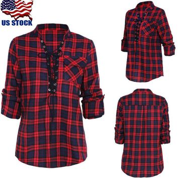 Women's V Neck Lace Up Tops Check Plaid Loose Long Sleeve T Shirt Tee Blouse