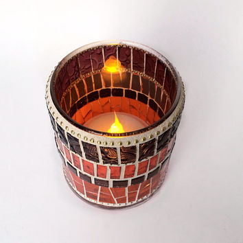 Mosaic candle holder Glass votive Home decorating Indoor lighting Stained glass candle votive Fall home decor Gift for her Housewarming gift
