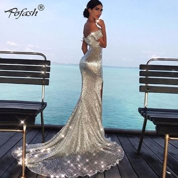 POFASH Off the Shoulder Long Dress Bodycon Maxi Evening Party Dress Women Silver Sequined Solid vestidos High Split Sexy Dress