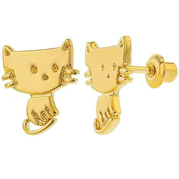 18k Gold Plated Cat Kitten Safety Screw Back Earrings for Kids Little Girls