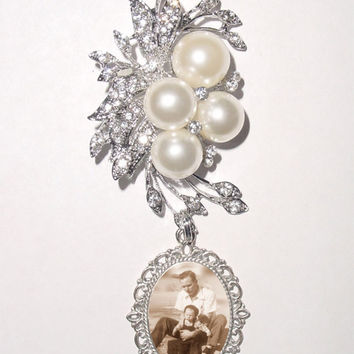 Memorial Brooch or Wedding Bouquet Photo Charm Silver Pearls Crystals - FREE SHIPPING
