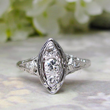 Vintage Engagement Ring Art Deco Style Ring Unique Marquise Navette Diamond Ring 14K White Gold Filigree Ring Diamond Wedding Ring!