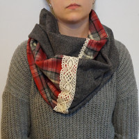 Red and Grey Flannel Infinity Scarf with Crochet Lace, Soft Plaid Infinity Scarf for Fall Weather, Winter Weather, Women's Fashion Scarf