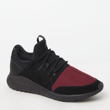 adidas Tubular Radial Black and Burgundy Shoes at PacSun.com