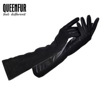 QUEENFUR Long Real Leather Gloves For Women Genuine Sheepskin Gloves Adult Goat Skin Leather Warm lined Black High-grade gloves