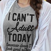 Womens I Can't Adult Today Cotton T-Shirt  Short Sleeve Taped Neck Casual Black Tee Shirt