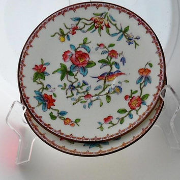 Vintage 1940s COALPORT PEMBROKE China Pattern 6316 Saucers/Made in England/Bone China Pembroke 6316 Hand Painted Saucers/ Pembroke Pattern