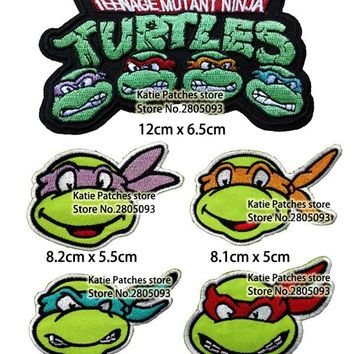 Teenage Mutant Ninja Turtles Badge Mixed Embroidered Iron On Patch, Cartoon Animal Fabric Patch, Kids DIY Clothing Accessories