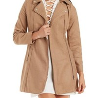 Camel Wool-Blend Moto Trench Coat by Charlotte Russe