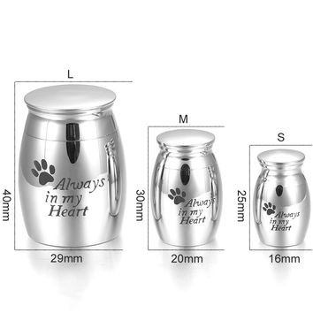 "IJD0001 Engraving ""Always In My Heart"" Paw Print 316L Stainless Steel Cremation Ashes Locket Memorial Urn Jewelry for Pet Ashes"