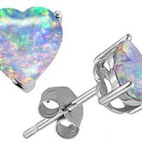 Original Star K(tm) 7mm Heart Shape Created Opal Earring Studs in .925 Sterling Silver: Jewelry: Amazon.com