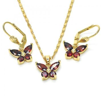 Gold Layered Necklace and Earring, Butterfly Design, with Cubic Zirconia, Golden Tone