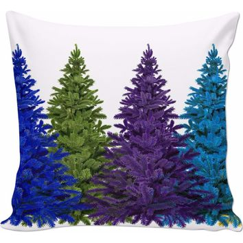 ROCP Christmas Trees of Color Couch Pillow