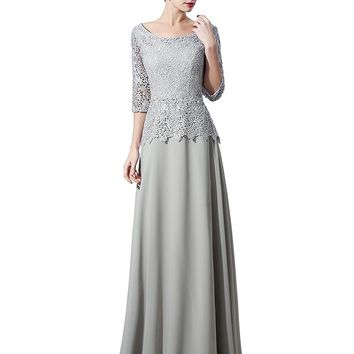 Topwedding Women's Half Sleeve Lace Formal Mother Dress Evening Gown