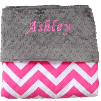 Monogrammed Hot Pink & Grey Chevron Minky Baby Blanket - Personalized - Baby Shower - Gift - Custom - Throw - GIrls - Bedding - Decor