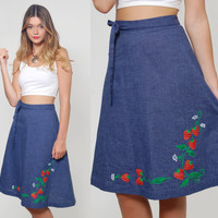 Vintage 70s WRAP Skirt Denim Blue STRAWBERRY Print Retro Skirt NOVELTY Midi Skirt Denim Skirt