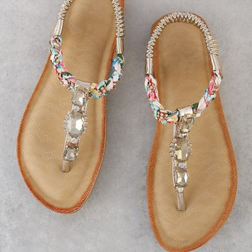 Jewel Embellished T-Strap Thong Sandal GOLD
