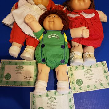 Lot of 3 Vintage Cabbage Patch Kids + Birth Certificates + Clothing / Outfits
