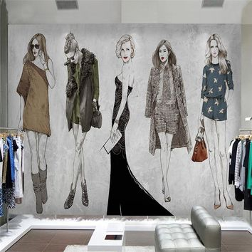 Customized 3D Wallpapers Modern Store Fashion Women Murals Wallpapers for Living Room Walls Clothing Home Decoration Wall Papers
