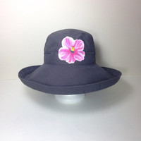 Scala Hat Cotton Big Brim with Drawstring Hand Painted Pink Hibiscus