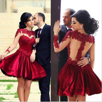 Pure Color Lace Splicing Backless Short Cocktail Dress