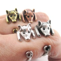 3D Miniature Piglet Pig Shaped Animal Wrap Ring in Sizes 4 to 8.5 | DOTOLY