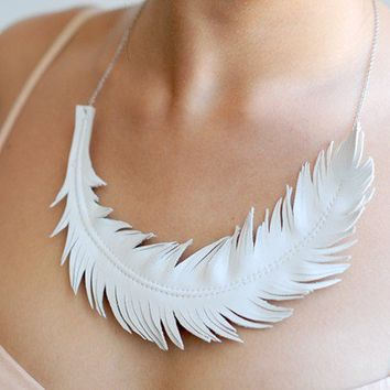 Feather Necklace Ivory White Leather Feather by LoveAtFirstBlush