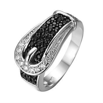 Vintage Design Black & White Sapphire Jewelry Women Wedding Band Ring Anel White CZ Gold Filled Engagement Rings Sz6-10 RW0188