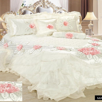 Tache 6 Piece Fancy Floral Delicate Rose Luxurious Comforter Set (MA125)