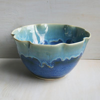 Decorative Blue Serving Bowl with Ruffled Edges Handmade Ceramic Blue Pottery Stoneware Handmade Ready to Ship Made in USA