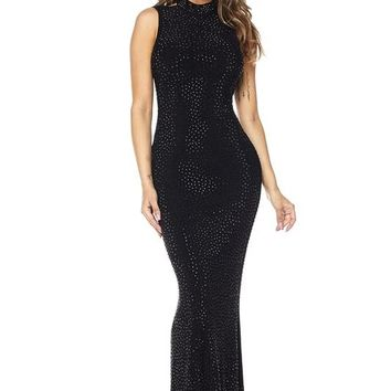 Marcene Open Back Rhinestone Embellished Dress