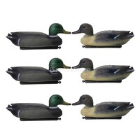 6 Pcs Fishing Hunting Male Decoy Plastic Duck Decoy Drake w/ Floating Keel green yellow