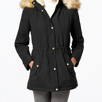 Jones New York Faux-Fur-Trim Anorak | macys.com