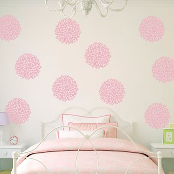 Flower Wall Decals (Set of 10) - Chrysanthemum Flowers - Flower Decor for Girls Bedroom