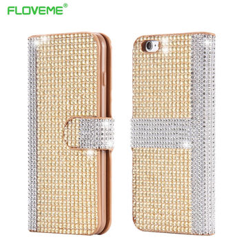 Newest i6/6S Plus Diamond Capa Luxury Bling Crystal Rhinestone Flip Case For iPhone 6 Plus / 6S Plus Wallet Stand Leather Cover