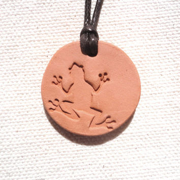 Diffuser Clay Ceramic Tree Frog Pendant, Natural Eco Friendly Jewelry, Aromatherapy Essential Scented Oil