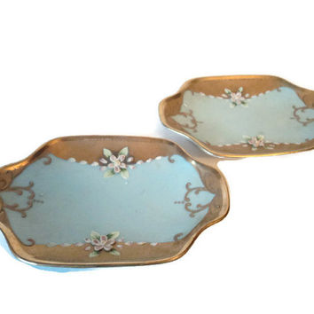 19th Century French Sevres Limoges Style Pair of Vanity Trinket Pin Dishes