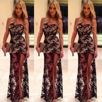 Black Lace And Mesh Strapless Maxi Dress