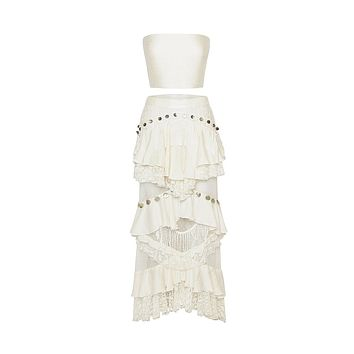 Whirlwind Romance Sheer Mesh Lace Dot Pattern Sleeveless Crop Top Ruffle Tier Fringe Two Piece Maxi Dress - 2 Colors Available