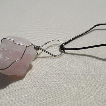 Raw Rose quartz gem stone wire wrapped pendant with black cord necklace