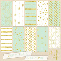 Gold and Mint Digital papers with arrows, stripes, dots confetti and leaves in mint and white for digital scrapbooking cards, invites tribal