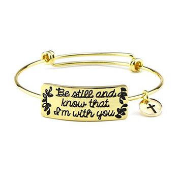 AUGUAU Bible Verse Bracelet for Girls Encouragement Gift Women Bangle Expandable Positive Quotes Christian