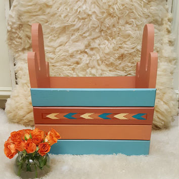Vintage Wood Handcrafted Magazine Holder - bin - cactus shaped sides and southwest design